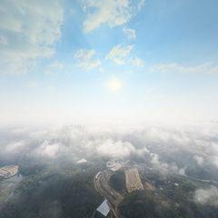 雾霭朦胧,银城大地似蓬莱